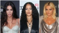 Kim Kardashian Wears Light Blue Snake Skin Gown Rihanna Has Big Curls in Black Wrap Dress and Bebe Rexha Wears Silver Gown