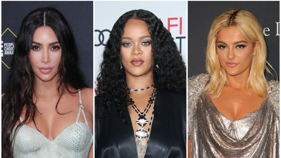 Kim Kardashian Wears Light Blue Snake Skin Gown Rihanna Has Big Curls in Black Wrap Dress and Bebe Rexha Wears Silver Gown