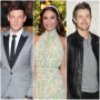 Glee's Cory Monteith Wears Grey Suit With black Lapels Lea Michele Smiles in Flowered Dress and White Headband Robert Buckley Wears Black Leather Jacket and Grey Tshirt