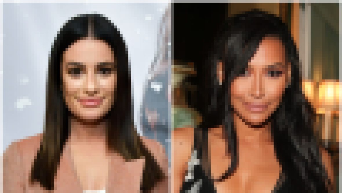Glee star Lea Michele Wears Tan Blazer and Naya Rivera Wears Sheer Black Gown