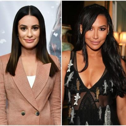 Glee star Lea Michele Wears Tan Blazer and Naya Rivera Wears Sheer Black Gown