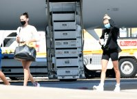 Hailey Baldwin Bieber and Bella Hadid Step Off Private Jet in Sardinia