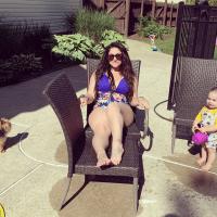 Jersey Shore Deena Cortese Sits in Purple Bikini