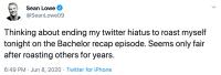 Sean Lowe Bachelor Tweets During Season 17 Reair With Catherine Giudici 8