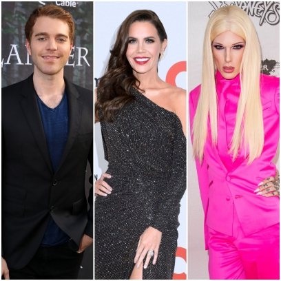 YouTuber Shane Dawson Blue Suit on Red Carpet Tati Westbook Black Gown Jeffree Star Pink Suit