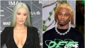Iggy Azalea Has Blue Green Hair in Black Wrap Dress Playboi Carti Walks in Off White Louis Vuitton Fashion show