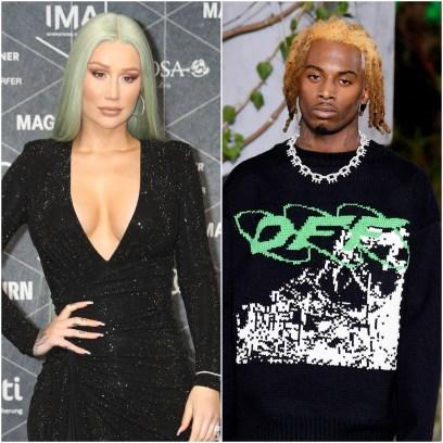 Iggy Azalea Has Blue Green Hair in Black Wrap Dress Playboi Carti Walks in Off White Louis Vuitton Fashion show