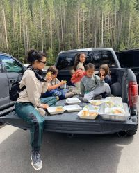 kourntey kardashian tailgating with kids