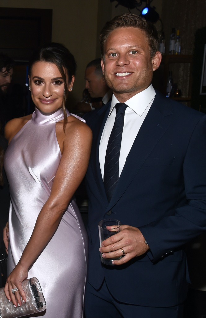 Lea Michele Wears Pink Silk Dress and Smiles With Husband Zandy Reich