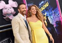Pregnant Blake Lively Wears Yellow Sequined Dress With Husband Ryan Reynolds in Khaki Suit and Denim Vest at Pikachu Premiere