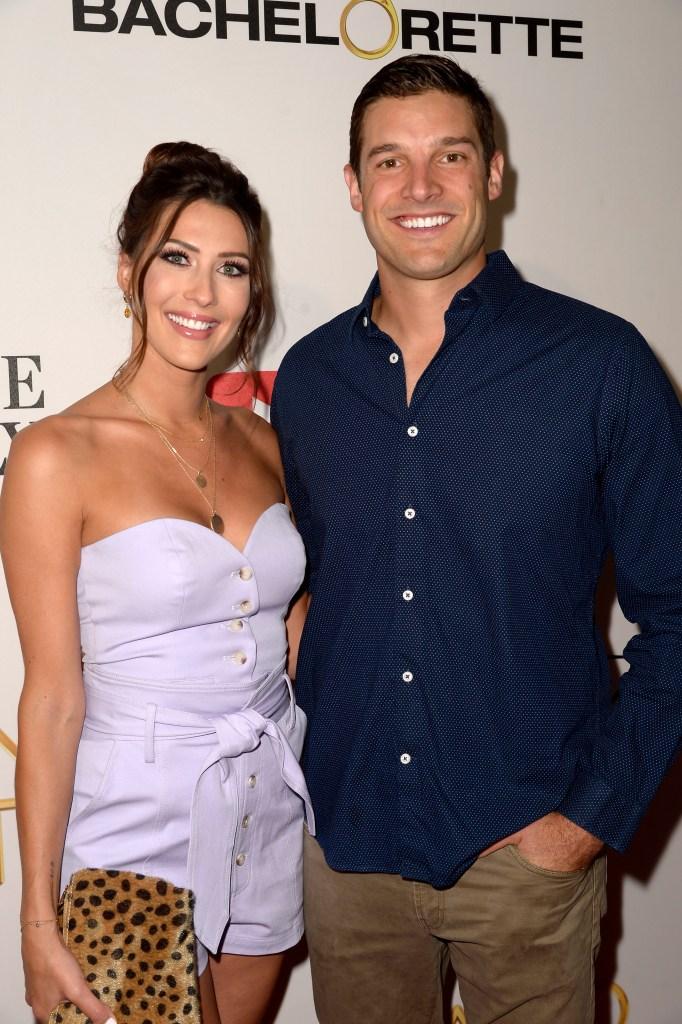 Bachelorette Becca Kufrin Wears Purple Dress With Fiance Garrett Yrigoyen