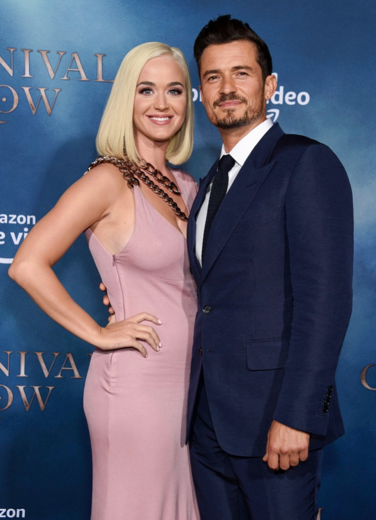 Katy Perry Wears Pink Dress and Chains With Orlando Bloom in Blue Suit