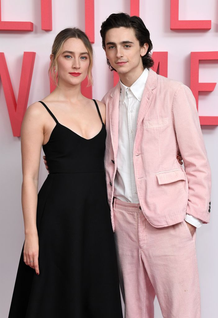 Timothee Chalamet and Saoirse Ronan Pose on Red Carpet During Little Women