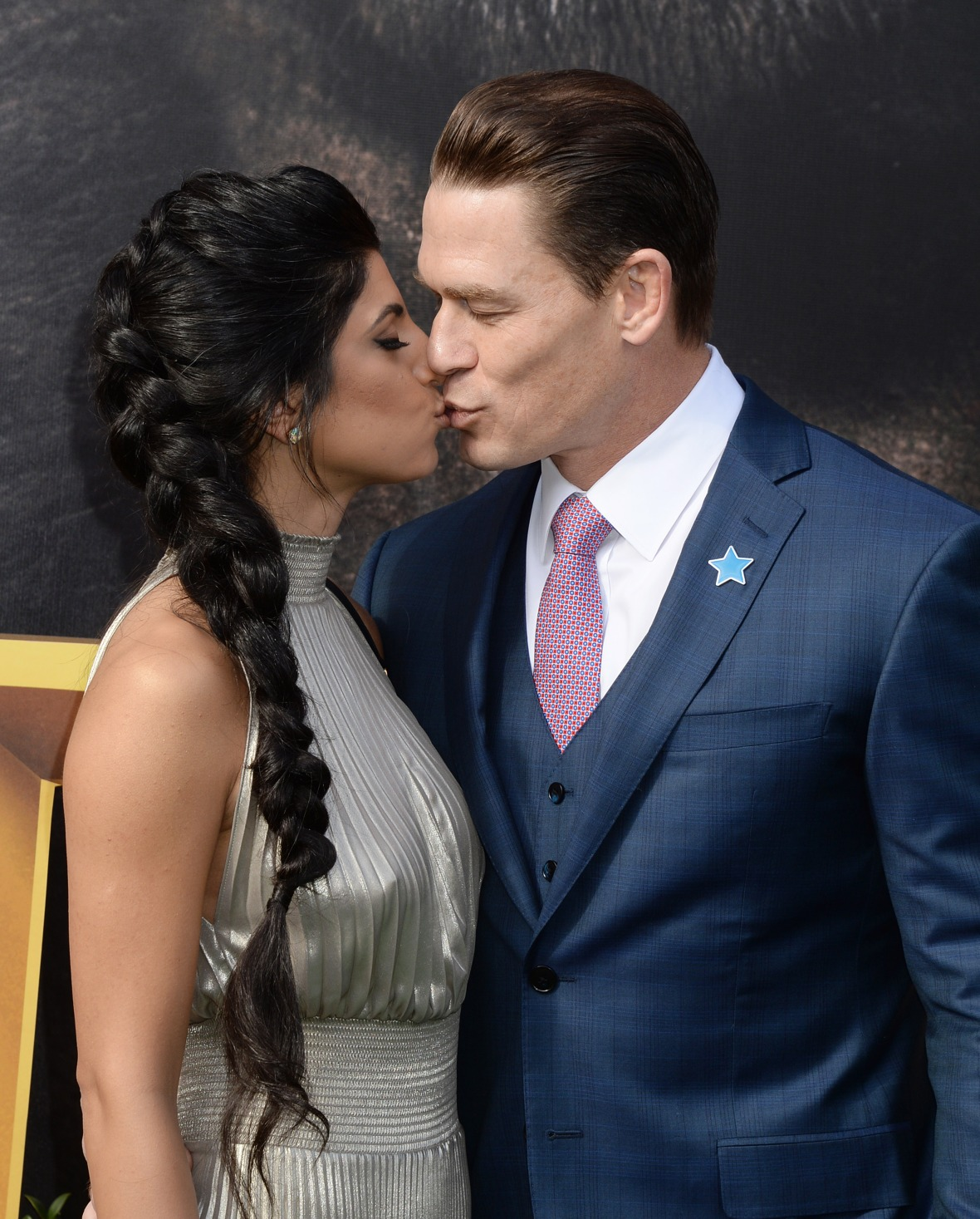 John Cena and Girlfriend Shay Shariatzadeh Kiss at Dolittle Premiere
