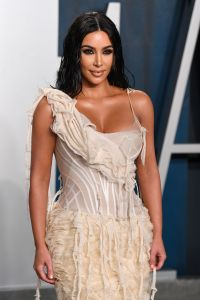 Kim Kardashian Wears Nude Shredded Dress at Vanity Fair Oscars Party