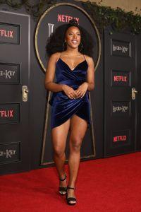 Riverdale's Asha Bromfield Wears Blue Velvet Dress on Red Carpet