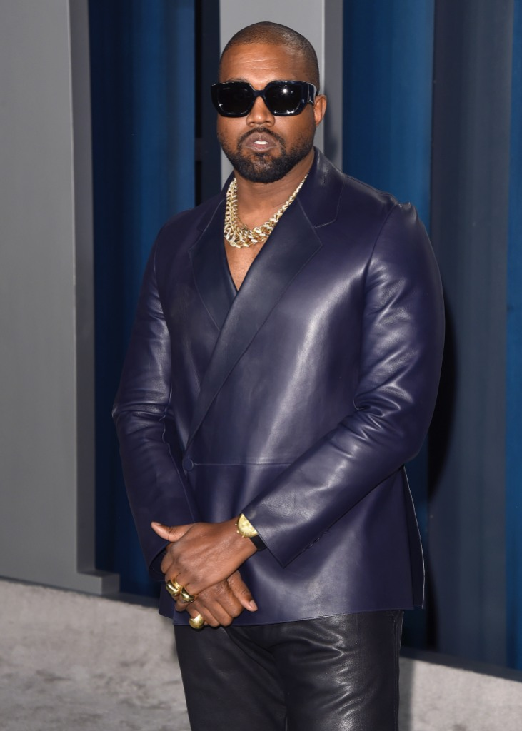 Kanye West Wears Blue Leather Suit and Sunglasses Vanity Fair Oscars Party