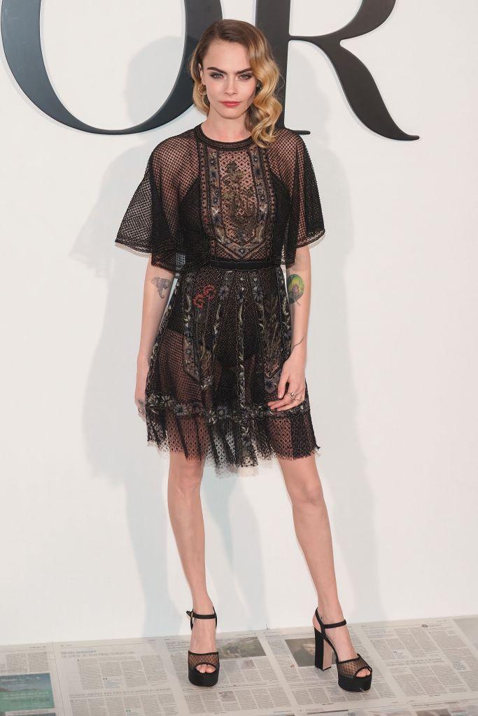 Cara Delevingne Black Lace Dres at Dior Show