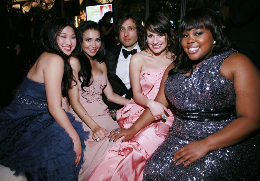 Glee Stars Jenna Ushkowitz, Naya Rivera, Brad Falchuk, Lea Michele and Amber Riley Dressed Up at Golden Globes 2011