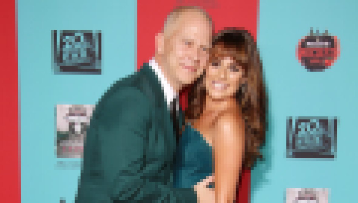 Ryan Murphy Wears Green Suit and Hugs Glee Star Lea Michelein Green Strapless Dress With High Slit