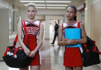 Dianna Agron, Naya Rivera in Cheerios Cheer Costumes on Glee