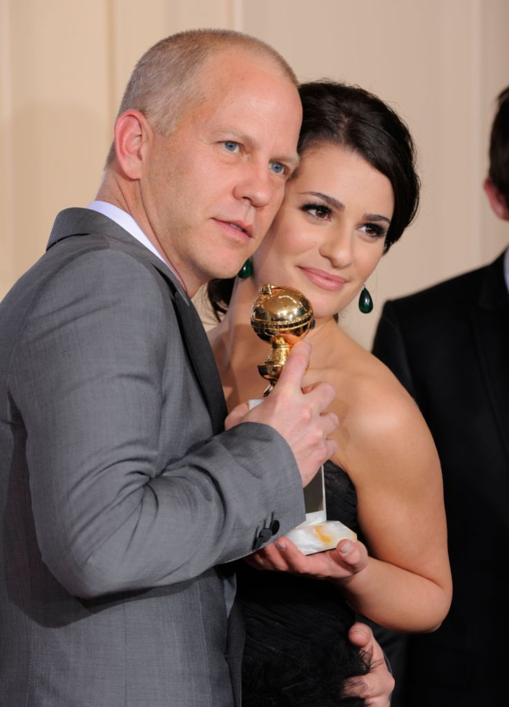 Ryan Murphy and Lea Michele Hug While Holding Emmy