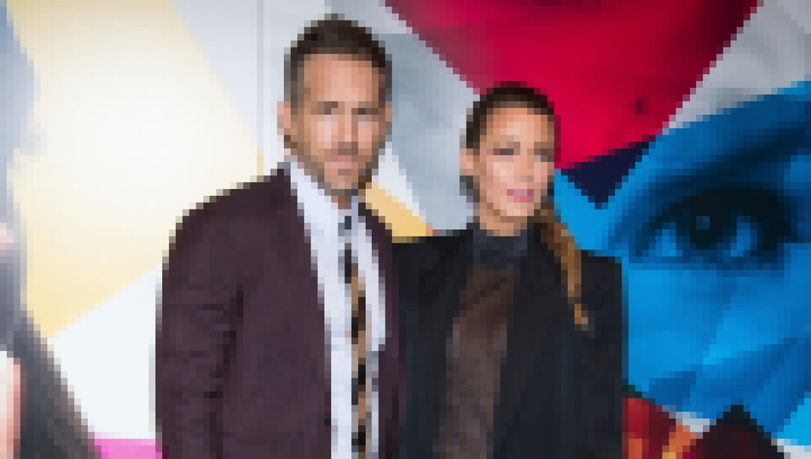 Blake Lively Wears Black Suit and Sheer Top With Husband Ryan Reynolds in Dark Maroon Suit