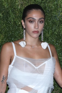 Madonna's Daughter Lourdes Leon Wears White Sheer Dress and Dangly Earrings