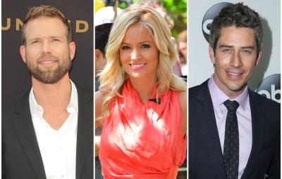Bachelor Travis Stork in Suit Bachelorette Emily Maynard in Pink Dress and Arie Luyendyk Jr in Suit