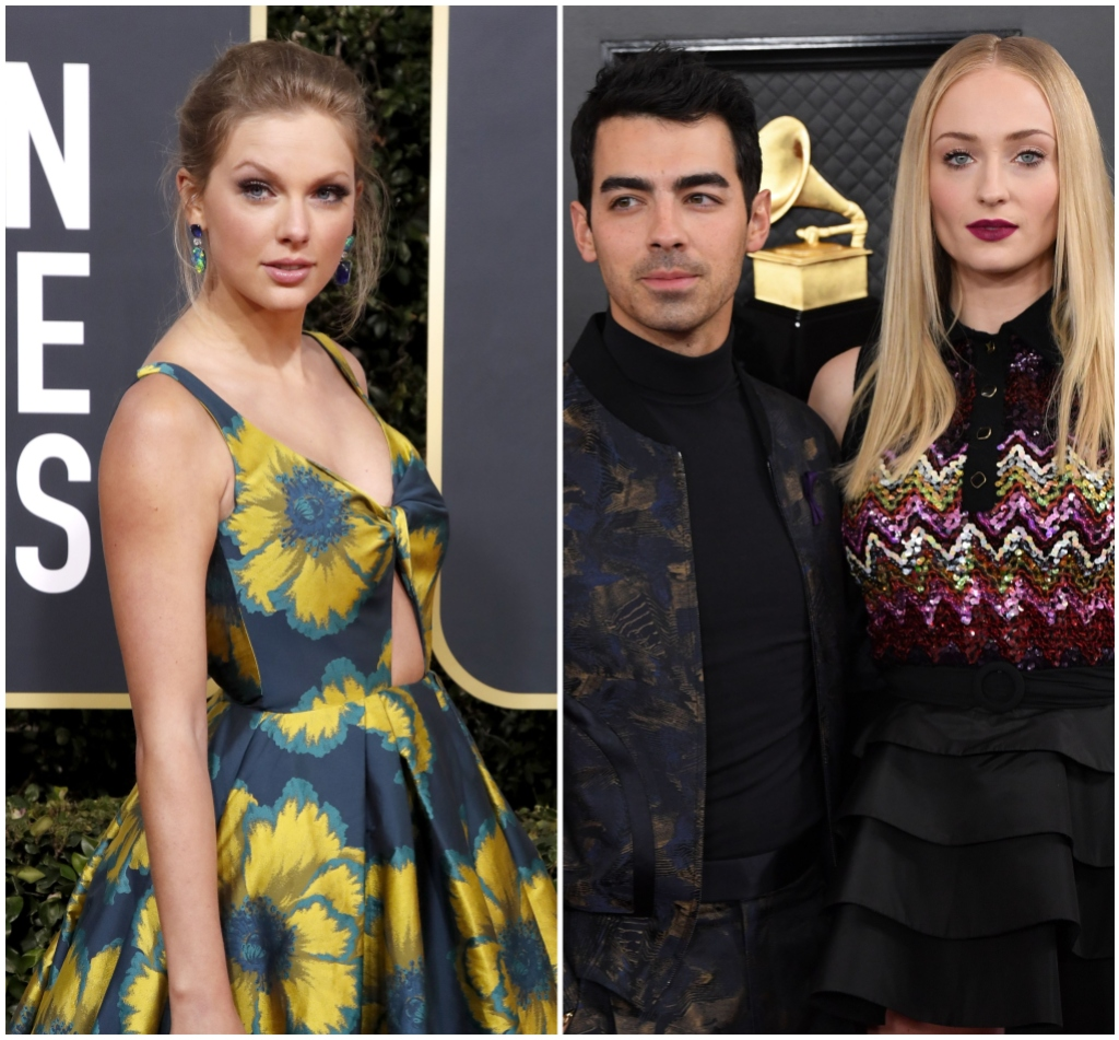 Taylor Swift Sends Joe Jonas and Sophie Turner Baby Gift Split Image