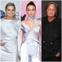 Yolanda Hadid in White Silk Dress Gigi Hadid and Blue Silk Dress and Mohamed Hadid in Black Suit