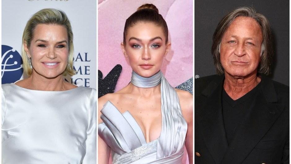 Yolanda Hadid in White Silk Dress Gigi Hadid and Blue Silk Dress and Mohamed Hadid in Black Suit
