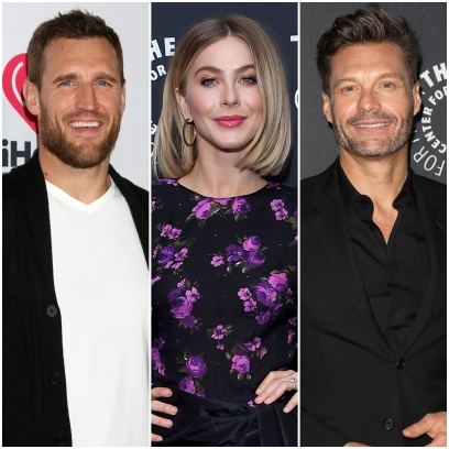 Brooks Laich Smiles in White Tshirt Julianne Hough Short Hair and Flowered Top Ryan Seacrest Wears All Black Suit