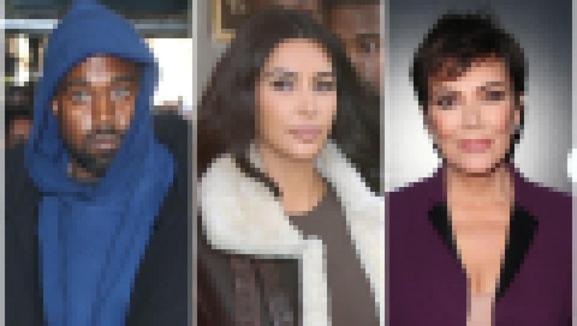 Kanye West Wears Blue Hoodie Kim Kardashian Wears Fur Lined Leather Jacket Krs Jenner Wears Dark Purple Suit