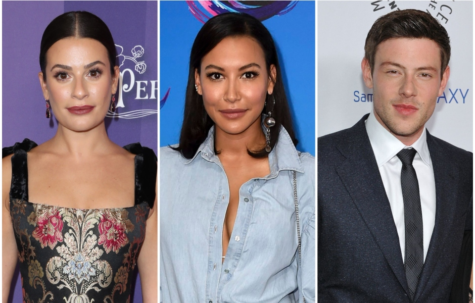 Lea michele Wears Dark Red Lipstick and Flowered Gown Naya Rivera Short Hair With Jeans and Blue Blouse Cory Monteith Wears Grey Suit