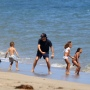 Scott Disick on the Beach With Saint and North West