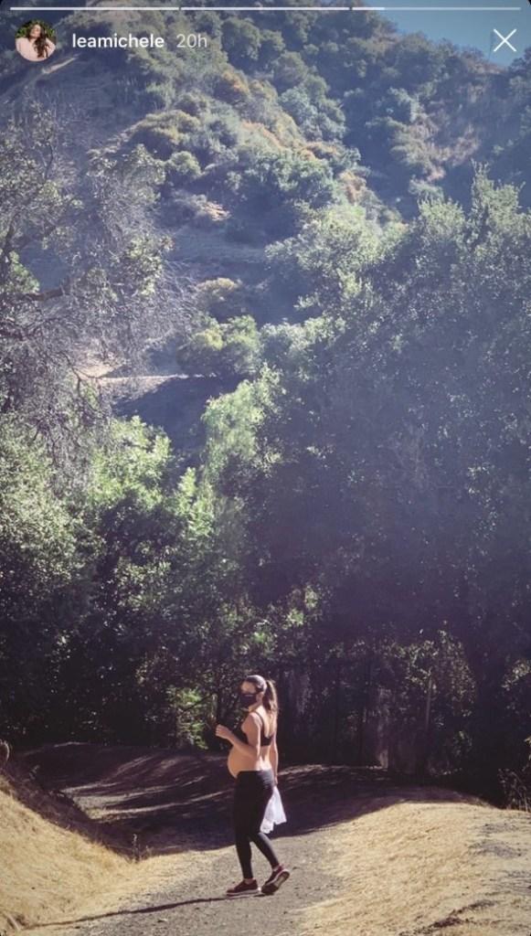 lea-michele-baby-bump-hike-ig-story