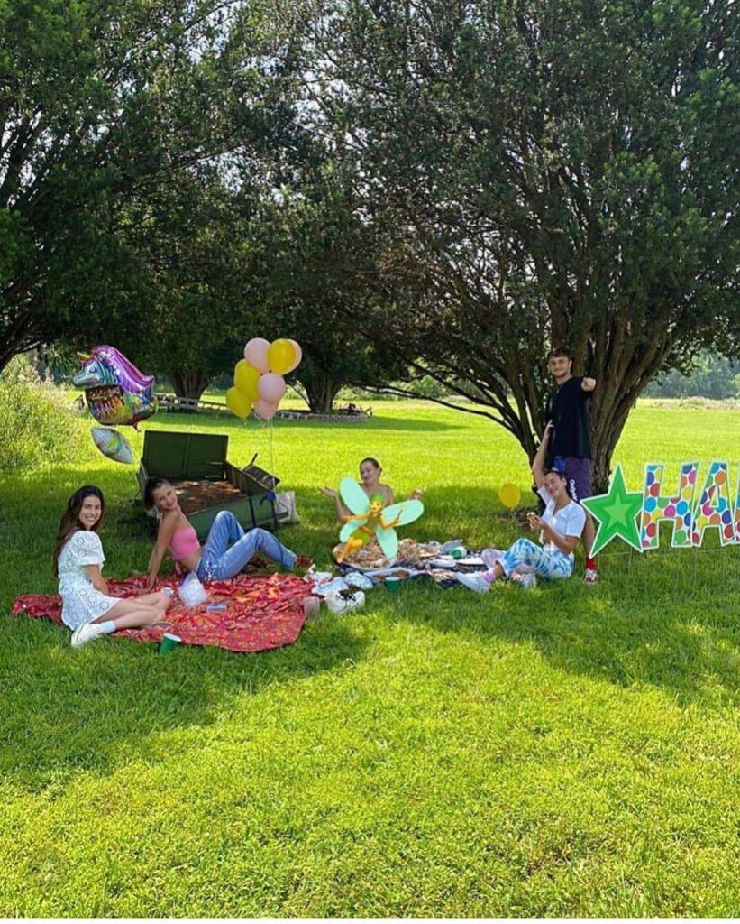 Mohamed Hadid Shares Picnic Photo With Pregnant Gigi Hadid Bella Hadid Anwar Hadid Dua Lipa and Leah McCarthy