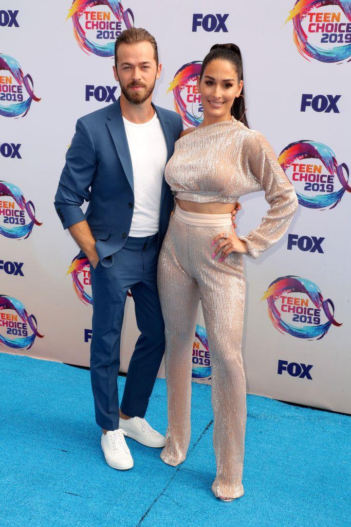 Nikki Bella and Fiance Artem Chigvintsev Pose on Red carpet
