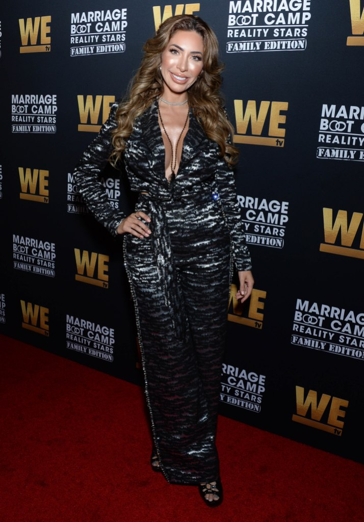MTV Star Farrah Abraham With Long Curly Hair and Black Jumpsuit