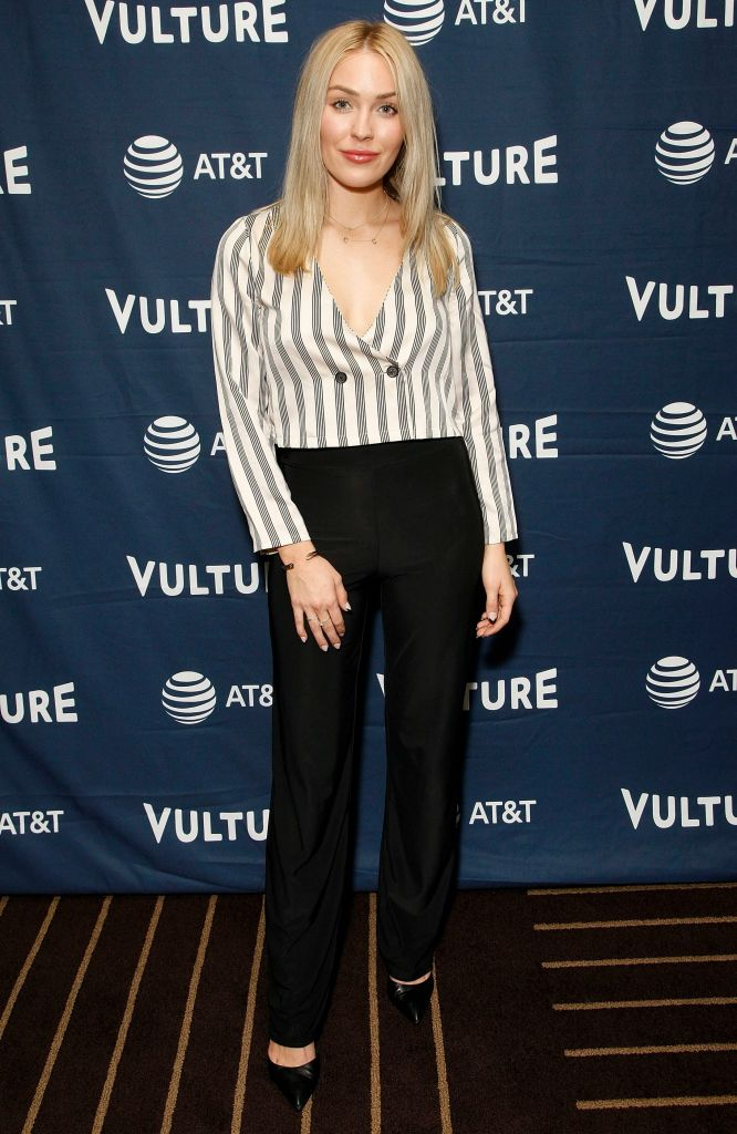 Bachelor Star Cassie Randolph Wears Black Pants and Striped Tops