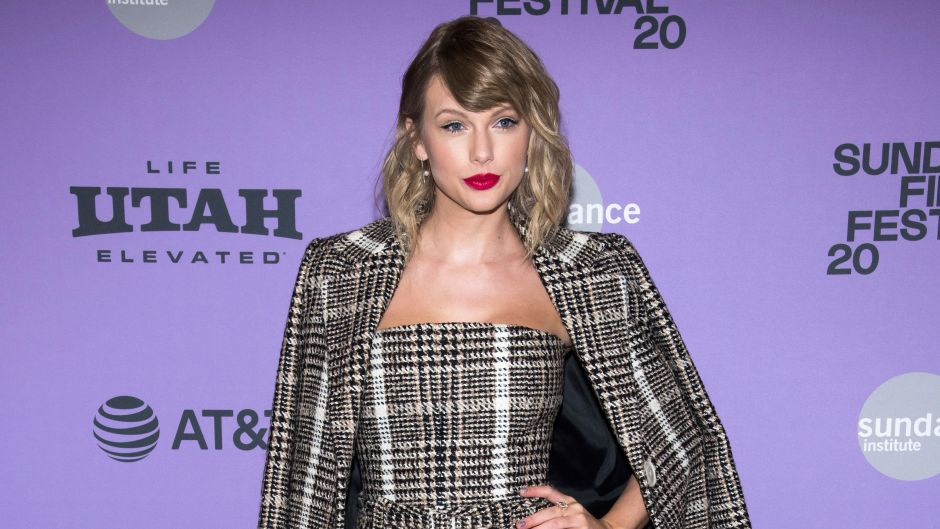 TAYLOR SWIFT WEARS GREY PLAID JUMPSUIT AND JACKET