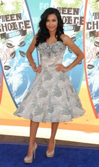 Naya Rivera Teen Choice Awards Blue Tea Length Dress