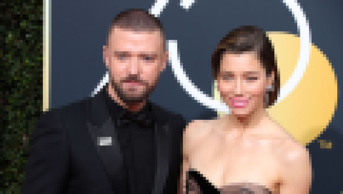 Jessica Biel in Black Gown and Husband Justin Timberlake in All Black Tux