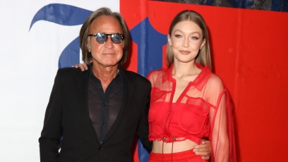 Gigi Hadid Wears Red Two Piece Outfit With Dad Mohamed Hadid