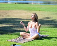 Farrah Abraham Does Yoga in Lingerie in Santa Monica