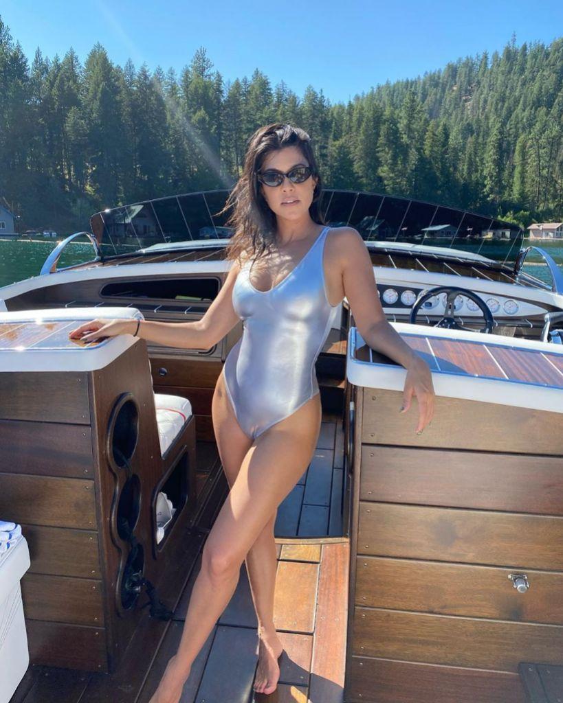Kourtney Kardashian Wears Silver One Piece Swimsuit During Idaho Vacation With Scott Disick