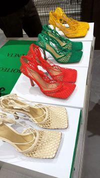 Kylie Jenner Shoe and Purse Closet Bottega Stretch Sandals