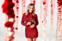 Bachelorette Clare Crawley Season 15 Red Sparkly Minidress Roses