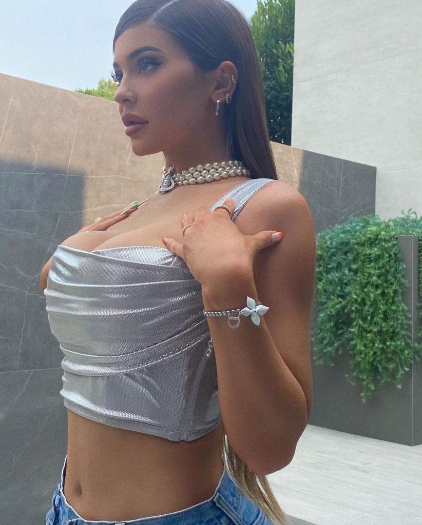 Kylie Jenner Wears a Sexy Silver Bustier